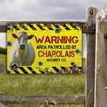 Charolais Cattle Lovers Warning Area Metal Sign