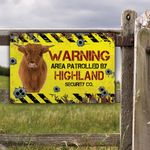 Highland Cattle Lovers Warning Area Metal Sign