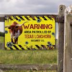 TX Longhorn Cattle Lovers Warning Area Metal Sign
