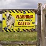Brahman Cattle Lovers Warning Protected Metal Sign