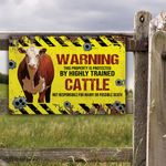 Hereford Cattle Lovers Warning Protected Metal Sign