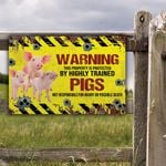 Pig Lovers Warning Protected Metal Sign