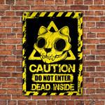 Skull Cat Lovers Caution Do Not Enter Metal Sign