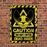 Skull Sphynx Cat Lovers Caution Do Not Enter Metal Sign