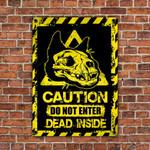 Skull Black Cat Lovers Caution Do Not Enter Metal Sign