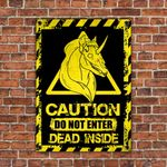Unicorn Hell Lovers Caution Do Not Enter Metal Sign