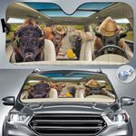 """Bison Lovers Country Road Car Auto Sunshade 57"""" x 27.5"""""""