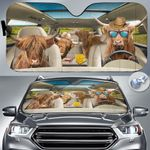 """Highland Cattle Lovers Country Road Car Auto Sunshade 57"""" x 27.5"""""""