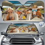 """TX Longhorn Cattle Lovers Country Road Car Auto Sunshade 57"""" x 27.5"""""""