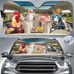 "Animal Farm Lovers Country Road Car Auto Sunshade 57"" x 27.5"""