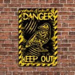 Crow Bird Skeleton Danger Keep Out Metal Sign