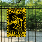 Cat Angry Skeleton Danger Keep Out Metal Sign