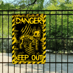 French Bulldog Skeleton Danger Keep Out Metal Sign