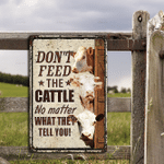 Hereford Cattle Lovers Don't Feed Metal Sign