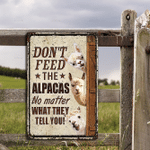 Alpaca Lovers Don't Feed Metal Sign