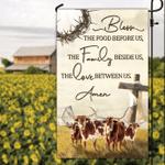 TX Longhorn Cattle Lovers Bless Us Garden And House Flag