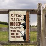 Black Hereford Cattle Lovers Keep Gate Closed Metal Sign
