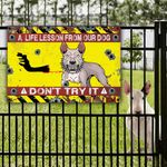 Bull Terrier Dont Try It Warning Protected Metal Sign