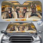 "Doberman Pinscher Dog Lovers Autumn Road Car Auto Sunshade 57"" x 27.5"""