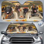 "Leonberger Dog Lovers Autumn Road Car Auto Sunshade 57"" x 27.5"""