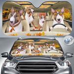 "Miniature Bull Terrier Dog Lovers Autumn Road Car Auto Sunshade 57"" x 27.5"""