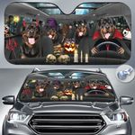 "Rottweiler Dog Lovers Halloween Time Car Auto Sunshade 57"" x 27.5"""