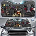 "Black Angus Cattle Lovers Halloween Time Car Auto Sunshade 57"" x 27.5"""