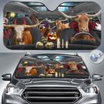 "TX Longhorn Cattle Lovers Halloween Time Car Auto Sunshade 57"" x 27.5"""