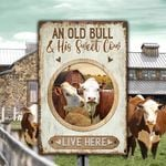 Hereford Cattle Lovers Old Bull And Sweet Cow Metal Sign