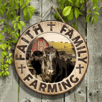 """Black Angus Cattle Lovers Faith Family Farming Round Wooden Sign 12"""" x 12"""""""