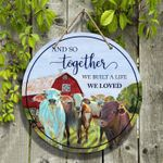 """Animal Farm Lovers And So Together Round Wooden Sign 12"""" x 12"""""""