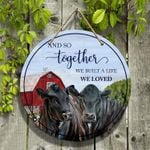 """Black Angus Cattle Lovers And So Together Round Wooden Sign 12"""" x 12"""""""