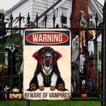 Doberman Pinscher Dog Lovers Beware Of Vampires Metal Sign