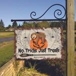 Sloth Lovers No Tricks Just Treats Metal Sign
