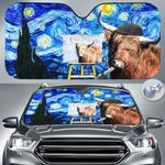"""Highland Cattle Lovers Starry Night Funny Car Auto Sunshade 57"""" x 27.5"""""""