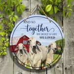 """Brahman Cattle Lovers And So Together Round Wooden Sign 12"""" x 12"""""""