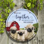 """Sheep Lovers And So Together Round Wooden Sign 12"""" x 12"""""""