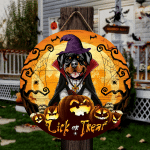 """Rottweiler Dog Lovers Lick Or Treat Round Wooden Sign 12"""" x 12"""""""