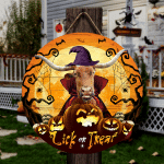 """TX Longhorn Cattle Lovers Lick Or Treat Round Wooden Sign 12"""" x 12"""""""