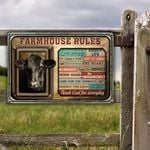 Black Angus Cattle Lovers Farmhouse Rules Metal Sign