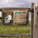 Brahman Cattle Lovers Farmhouse Rules Metal Sign