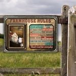 Hereford Cattle Lovers Farmhouse Rules Metal Sign