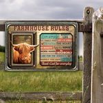 Highland Cattle Lovers Farmhouse Rules Metal Sign