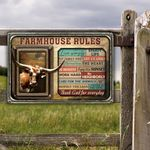 TX Longhorn Cattle Lovers Farmhouse Rules Metal Sign