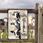 Holstein Friesian Cattle Lovers Hay Girl Hay Metal Sign