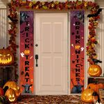 """Black Angus Cattle Lovers Trick Or Treat Drink Up Witches Porch Banner 12"""" x 70"""""""