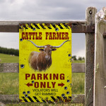 TX Longhorn Cattle Lovers Parking Only Metal Sign
