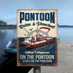 What Happens On The Pontoon Stays On The Pontoon Metal Sign