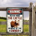 Hereford Cattle Lovers Gift Beware Of The Owner Metal Sign