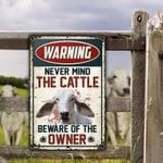Brahman Cattle Lovers Gift Beware Of The Owner Metal Sign